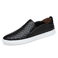 Men's Loafers & Slip-Ons Comfort Spring Fall Leather Casual Party & Evening Office & Career Braided Strap Flat Heel Black Dark Blue Brown