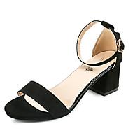Χαμηλού Κόστους Prom Shoes-Γυναικεία Παπούτσια PU Άνοιξη / Καλοκαίρι Ανατομικό / Βασική Γόβα Σανδάλια Κοντόχοντρο Τακούνι Ανοικτή μύτη Αγκράφα Μαύρο / Γκρίζο