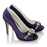 cheap Wedding Shoes-Women's Shoes Satin Summer Fall Basic Pump Heels Stiletto Heel Peep Toe Open Toe Rhinestone Chain for Wedding Dress Party & Evening Purple