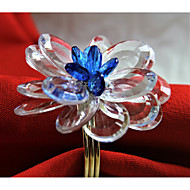 12 PCS Clear Crystal Flower Napkin ring/Holiday Napkin Ring  Acrylic Material Hotel Dining Table / Wedding Party Decoration / Wedding Banquet