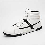 baratos Sapatos Masculinos-Homens Solas Claras Couro Ecológico Primavera / Outono Conforto Tênis Caminhada Branco / Preto / Khaki