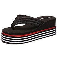 Women's Slippers & Flip-Flops Slippers Fall Winter PU Casual Flat Heel Ruby Black White Flat