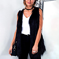 Women's Plus Size Going out Simple Fall Winter Vest,Solid V Neck Sleeveless Regular Faux Fur