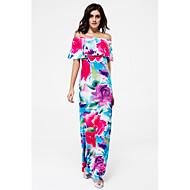 Kadın's Kulüp Sokak Şıklığı Bandaj Elbise - Çiçekli Zıt Renkli, Arkasız Çoklu Katman Kayık Yaka Maksi / Düşük Omuz