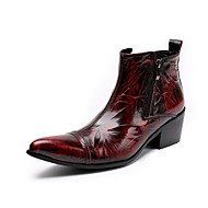 Men's Boots Amir's New Arrival Fashion Bootie Cowhide Leather Casual Party & Evening Burgundy Ruby