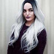Femme Perruque Synthétique Sans bonnet Mi Longue Ondulés Gris noir Cheveux Colorés Au Milieu Perruque Naturelle Perruque Déguisement
