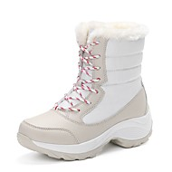 cheap Top Selling-Women's Shoes Canvas Leatherette Winter Fall Fashion Boots Boots Low Heel Round Toe Mid-Calf Boots Split Joint for Casual White Black Red