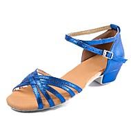 Детская обувь для танцев Нубук / Лакированная кожа Пряжки На низком каблуке Персонализируемая Танцевальная обувь Синий