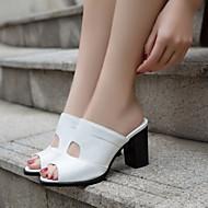 Feminino Sapatos Couro Ecológico Verão Conforto Sandálias Salto Grosso Para Casual Branco Preto