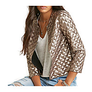 cheap -Women's Daily Street chic Fall Short Jacket, Solid Colored Round Neck Long Sleeve Polyester / Spandex Gold L / XL / XXL