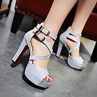 Feminino Sapatos Couro Ecológico Verão Conforto Saltos Salto Agulha Peep Toe Para Casual Dourado Preto Prata