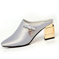Dame Tøfler og flip-flops Lette såler Vår PU Avslappet Krystall Blokker hælen Svart Sølv Rød 5 - 7 cm