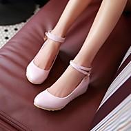 Feminino Sapatos Couro Ecológico Primavera Verão Conforto Saltos Anabela Ponta Redonda Para Casual Bege Azul Rosa claro