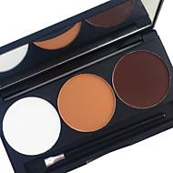baratos Sombras-pro 3 cores à prova de água, som de sombra, jogo de pó, terra, tom, cor, duradouro, olhos esfumaados, sombra, maquiagem, palete, aplicador, espelho