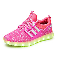 Girls' Sneakers Light Up Shoes Tulle Spring Fall Casual Outdoor Walking Flat Heel Black Green Blushing Pink Black/Red Flat