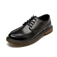 お買い得  メンズオックスフォードシューズ-男性用 靴 レザー 春 秋 コンフォートシューズ オックスフォードシューズ 編み上げ のために カジュアル オフィス&キャリア ブラック Brown