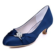 cheap Wedding Shoes-Women's Shoes Stretch Satin Spring Fall Basic Pump Wedding Shoes Kitten Heel Round Toe Crystal for Dress Party & Evening Black Dark Blue