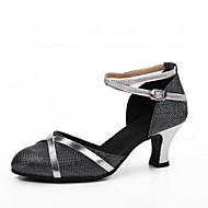 baratos Sapatilhas de Dança-Mulheres Sapatos de Dança Moderna Gliter Salto Recortes Salto Personalizado Personalizável Sapatos de Dança Prata / Prata / Black / Preto