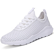 Men's Athletic Shoes Comfort Light Soles Spring Fall PU Casual Outdoor Lace-up Braided Strap Flat Heel White Black Under 1in