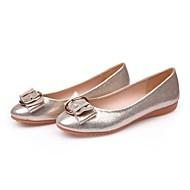 cheap Women's Flats-Women's Microfiber Spring / Summer Moccasin Flats Flat Heel Round Toe Buckle Gold / Black / Silver