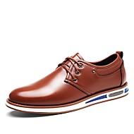 Masculino sapatos Couro Ecológico Primavera Outono Conforto Oxfords Cadarço Para Casual Preto Marron Azul