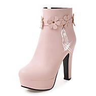 baratos Sapatos Femininos-Mulheres Sapatos Courino Inverno Outono Botas da Moda Curta/Ankle Botas Salto Robusto Plataforma Ponta Redonda Botas Curtas / Ankle