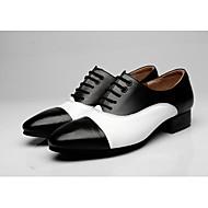 """billige Moderne sko-Herre Moderne Lær Oxford utendørs Tvinning Tykk hæl Svart/Hvit Brun/Hvit 2 """"- 2 3/4"""""""