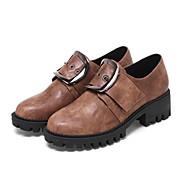 נשים נעליים PU אביב סתיו נוחות חדשני מגפיים אופנתיים מגפיי קרב נעלי אוקספורד עקב עבה בוהן עגולה אבזם עבור שמלה שחור צהוב חום