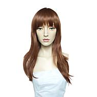 Naisten Synteettiset peruukit Suojuksettomat Pitkä Suora Medium Auburn Sivuosa Otsatukalla Cosplay-peruukki Luonnollinen peruukki Doll