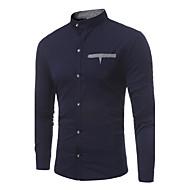 Erkek Dik Yaka İnce - Gömlek Zıt Renkli / Uzun Kollu