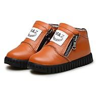 男の子 靴 レザー 冬 赤ちゃん用靴 ファッションブーツ フラフライニング コンフォートシューズ ブーツ ブーティー/アンクルブーツ ジッパー 用途 カジュアル ホワイト Brown