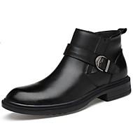 billige Lædersko-Herre Sko Læder Efterår / Vinter Militærstøvler / Støvle / Cowboy / Western Støvler Støvler Ankelstøvler Sort