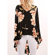 billige Overdele til damer-V-hals Dame - Blomstret, Drapering Bluse Polyester