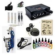 billige Tatoveringssett for nybegynnere-Tattoo Machine Startkit 1 x roterende tatoveringsmaskin til lining og skyggelegging LED strømforsyning 5 x engangsgrep 5 stk tattoo Nåler