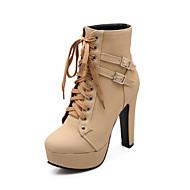 baratos Sapatos Femininos-Mulheres Sapatos Couro Ecológico Outono / Inverno Conforto / Inovador / Botas da Moda Botas Salto Robusto Ponta Redonda Botas Curtas /