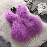 Women's Party Work Simple Cute Fall Winter Fur Coat,Solid V Neck Sleeveless Regular Others
