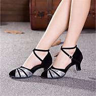 baratos Sapatilhas de Dança-Mulheres Sapatos de Dança Moderna Sintético / Gliter Salto Presilha Salto Cubano Sapatos de Dança Preto e Dourado / Vermelho /