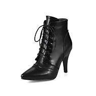 Women's Shoes Leatherette Fall Winter Fashion Boots Bootie Boots Stiletto Heel Pointed Toe Booties/Ankle Boots Split Joint Lace-up For