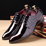 baratos Sapatos Masculinos-Homens Impressão Oxfords Couro Envernizado Outono / Inverno Conforto Oxfords Preto / Azul Real / Vinho / Festas & Noite