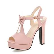 cheap Women's Sandals-Women's PU(Polyurethane) Spring / Summer Comfort / Novelty Sandals Peep Toe Bowknot / Buckle Black / Blue / Pink / Party & Evening / Party & Evening