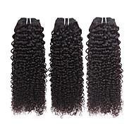 Cabelo Humano Cabelo Brasileiro Cabelo Humano Ondulado Enrolado Extensões de cabelo 3 Peças Preto