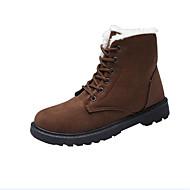 Feminino Sapatos Flocagem Outono Inverno Botas de Neve Forro de fluff Botas Rasteiro Ponta Redonda Botas Curtas / Ankle Combinação Para