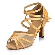 Damer Latin Syntetisk læder Sandaler Hæle Sneaker Indendørs Bånd Stilethæle Gul Mandel 7,5 cm Kan tilpasses