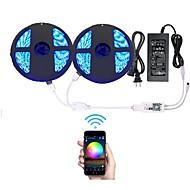wifi draadloze slimme telefoon gestuurde led strip licht met dc12v voeding waterdicht 5050 (2x5m) 600leds rgb timer werken met android ios