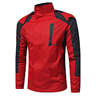 สำหรับผู้ชาย Sport / ง่าย / ประจำวัน ตก / ฤดูหนาว ปกติ แจ๊คเก็ต, ลายบล็อคสี ฮู้ด แขนยาว ฝ้าย สีน้ำเงิน / ทับทิม L / XL / XXL