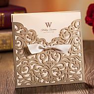 Zabalení do kapsy Svatební Pozvánky 20 - Pozvánky Klasický styl Embosovaný papír