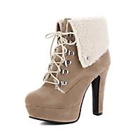 Žene Cipele Umjetna koža Zima Jesen Modne čizme Čizme Kockasta potpetica Okrugli Toe Čizme gležnjače / do gležnja Kopča za Kauzalni