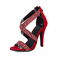 cheap Women's Sandals-Women's Shoes Suede Summer Fall Comfort Novelty Sandals Stiletto Heel Open Toe Rhinestone Zipper for Wedding Party & Evening Black Red