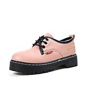 Naiset Oxford-kengät Comfort Syksy PU Puku Solmittavat Tasapohja Musta Pinkki 2-2,75in