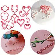 12 stk / sæt rose blomst sukkerrør skimmel blomst kronblade blonde hjerte fondant plast kage dekoration